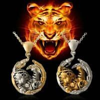 Animal Tiger Anhänger Halsketten für Frauen Natural Halskette Animal Charm C9W7