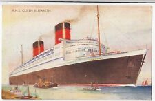 RMS Queen Elizabeth PPC, QE2, Artist Signed Bernard Church, Unposted, By Salmon