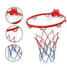 32cm Wall Mounted Basketball Hoop And Netting Metal Rim Hanging Goal w/ 4 Screws
