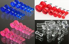 Acrylic Transparent Clear Stretcher Ear Tunnels Plug Ear Expander Stretch Gauge