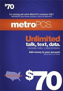 METRO PCS  $70 Prepaid Refill  Fast Direct Refill to your MetroPCS Mobile number