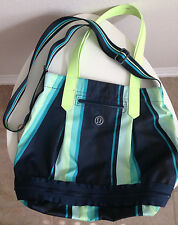 Lululemon Enlighted and Expand Yoga Tote Gym Bag Green Striped Rare
