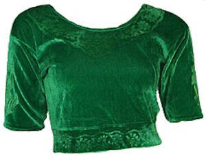 Grün Samt Top Choli Oberteil für indischer Sari Bollywood Gr. S bis 3XL