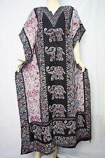 Plus Size Elephant Print kaftan,Long length Caftan dress Boho Gown Black Multi