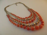 VCLM light Red and Gold Tone Multi-strand Bead Necklace