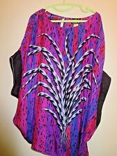 "Bob Mackie Women's Plus Size 8X 100% Silk Blouse ""Wearable Art"" New Without Tags"