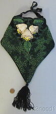 20s art deco antique BEADED PURSE outstanding reticule RAISED SEQUIN ORCHIDS