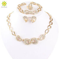 Fashion Jewelry Set Women Gold Plated Crystal Necklace Bracelet Earring Ring Set