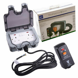 Masterplug BG Outdoor Mains Socket Power Kit & RCD Protected Plug Weatherproof
