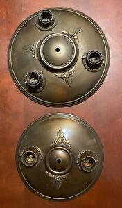 "Pair Of Vtg 1920s Art Deco Metal Ceiling Light Fixtures 12"" 3 Bulb & 10"" 2 Bulb"