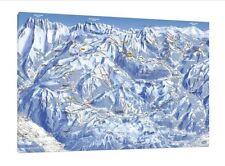 MORZINE Avoriaz SCI Map - 30x20 Inch canvas-Snowboard INCORNICIATO QUADRO Alpi