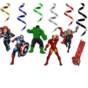 Avengers Themed Happy Birthday Party Hanging Swirl Banner Decorations Set X 6