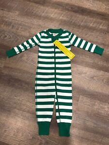 NWT HANNA ANDERSSON Baby Organic Zip Sleeper Green White Stripe 75 12-18 Months