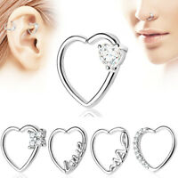 2X Zircon Heart Hoop Septum Nose Rings Helix Tragus Cartilage Ear Stud Piercing