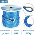 38 Inch 150ft Premium Solid Braid Mfp Boat Dock Anchor Line With Thimble Blue
