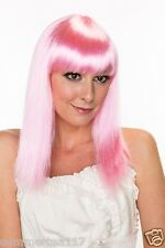 Halloween Medium Hot Pink Straight Party Cosplay Wig Costume for Women H0029PK