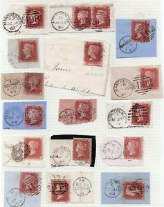 PENNY RED STARS ON PIECE ALL WITH FINE FULL CANCELS