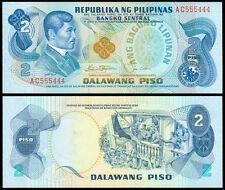ABL Philippines 2 Pesos Rizal RED FANCY Serial No AC 555444  Banknote