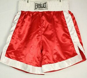 VTG 70's Everlast Acetate Red Satin Boxing Shorts Sz L Made In USA NOS Rocky HTF
