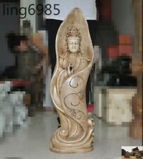 antique China Buddhism White marble stone carved Kwan-Yin GuanYin goddess statue