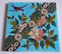 Gorgeous Bird LONGWY Style Art Nouveau Tile Jugendstil Gilardoni fils Choisy Roi