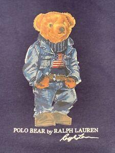 NWT Polo Ralph Lauren Flag Denim Bear Crewneck Fleece Sweatshirt 4XB