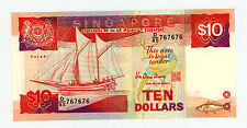Singapore … P-20 … 10 Dollars … (1988) … *AU* ... Repeater Serial : 767676.