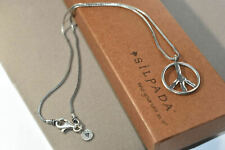 Silpada Sterling Silver N1971 Peace Sign Pendant Wheat Chain Link Necklace