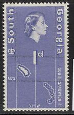 SOUTH GEORGIA SG2 1963 1d VIOLET-BLUE MNH
