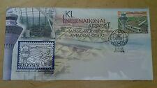 Malaysia Royal Selangor Premier Pewter Stamp FDC 1v KLIA Airport 1998 Aeroplane