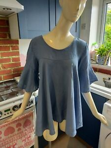 MADE IN ITALY BLUE LINEN TUNIC SMOCK TOP SIZE 12 14 16 LAGENLOOK
