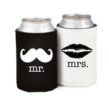 Mr Mrs Drink Can Holder Moustache Lips Wedding Stubby Stubbie Beer Cozy Vintage