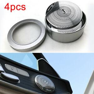Silver Metal Door Speaker Cover Trim 4Pc For Mercedes Benz-C W205 2014-15 RC