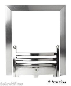 "16"" 40 cm Brushed Steel Magnetic Trim Frame + Chrome Bauhaus Front  Gas Fire"