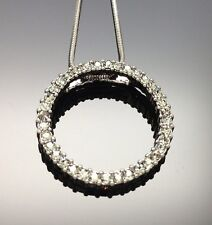 Swarovski Black Diamond Crystal Circle Women Lady Wedding Pendant Necklace 2.7cm