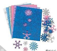 72 Glitter Snowflake Foam Sticker Snow Flake Pink Blue White Purple Silver