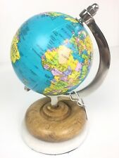 "Desk Spinning 8"" Globe With Marble & Board Base Made In India Decor Blue New"