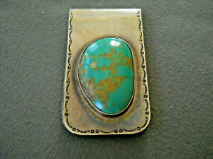 Huge Native American Navajo Turquoise Sterling Silver Stamped Money Clip