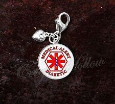 925 Sterling Silver Charm Diabetic Medical Alert Symbol Caduceus