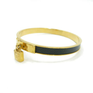 Authentic HERMES Kelly Cadena Motif Leather Bangle Bracelet Metallic #S407108
