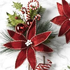 Raz Imports Candy Cane Poinsettia Spray Floral Tree Wreath Pick Decor New
