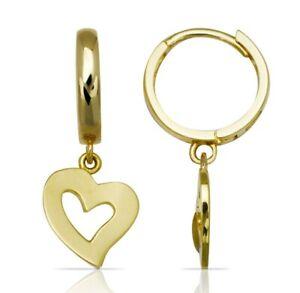Real 14k Solid Yellow Gold Drop Dangle Open Heart Huggie Earrings Classic