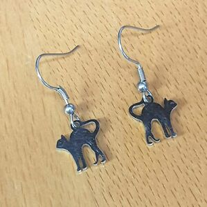 Hypoallergenic Surgical Steel Earrings with Stainless Steel Tiny Cat Charms