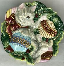 Fitz and Floyd Kitten Cat 3D Christmas Ornaments Hanging Collector Plate