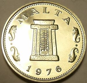 Rare Proof Malta 1976 5 Cents~26,000 Minted~Temple of Hagar Qim