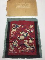 Antique Chinese Silk Embroidered Panel Butterfly Stunning Kimono Robe Remnant