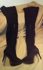 """REPORT SIGNATURE """"KANE"""" Black Suede High Heel Over The Knee Boots sz 7"""