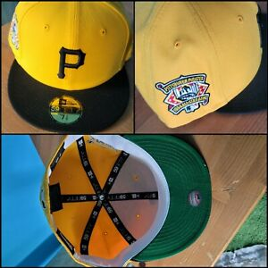 7 3/8 PittsburghPiratesNew Era Fitted Cap 1994 All Star Patch Yellow Green UV