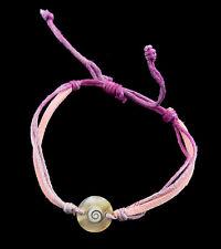 Bracelet bresilien Oeil de Sainte Lucie Nacre Cuir Shiva rose violet 995