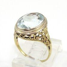 Vintage Antique 14K Yellow Gold Aquamarine Ring Size 5 RQ3